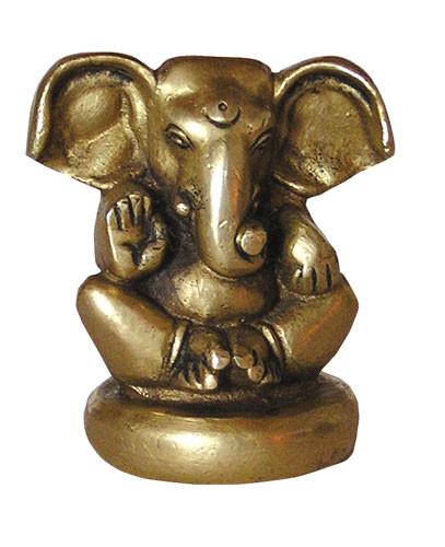 Ganesha sitzend, Messing, ca. 6 cm