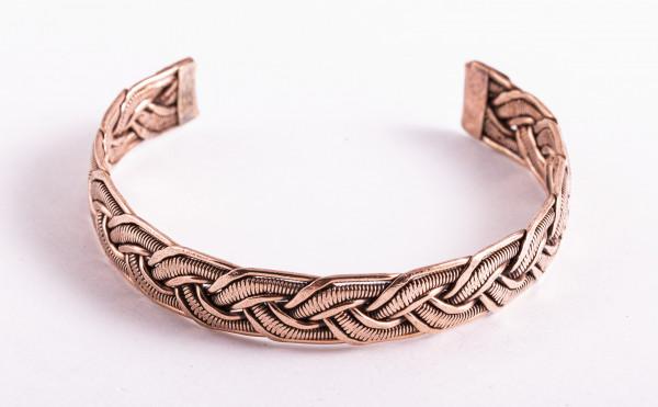 Kupfer-Armreif geflochten, 12 mm breit