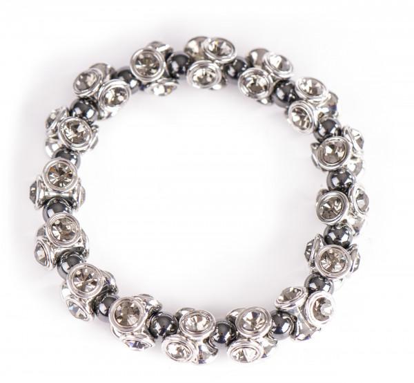 Magnetarmband mit braunen Kristall-Steinen