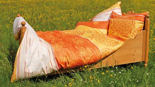 Bettbezug  Blume des Lebens  mangogelb