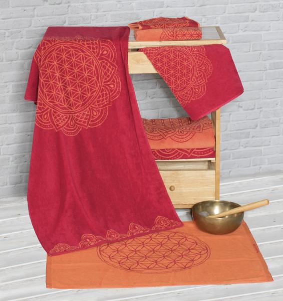 Gästetuch  Blume des Lebens , rubinrot/koralle