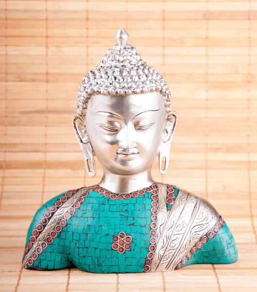 Buddha Büste aus Messing, versilbert