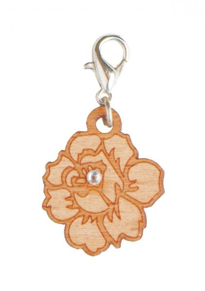 Rose - Holz-Charm mit Kristall